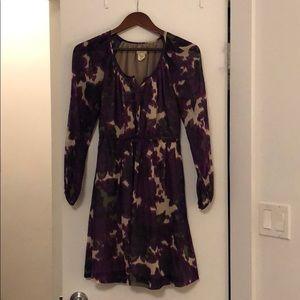 Watercolor Floral Printed Silk Chiffon Dress